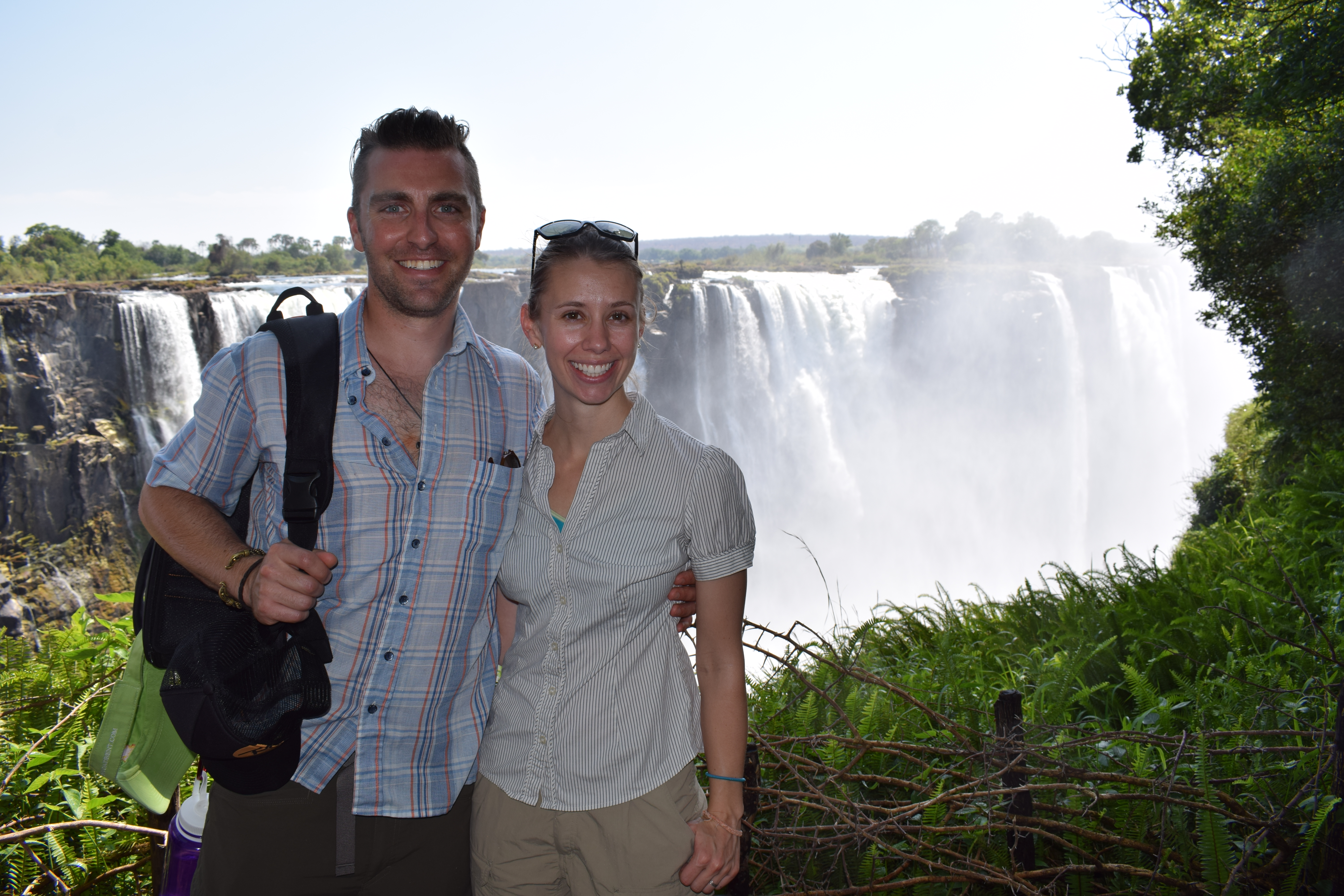 Annie and Aaron at Victoria Falls in Zimbabwe