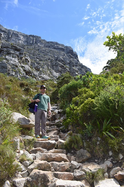 Man Hiking Table Mountain Cape Town South Africa