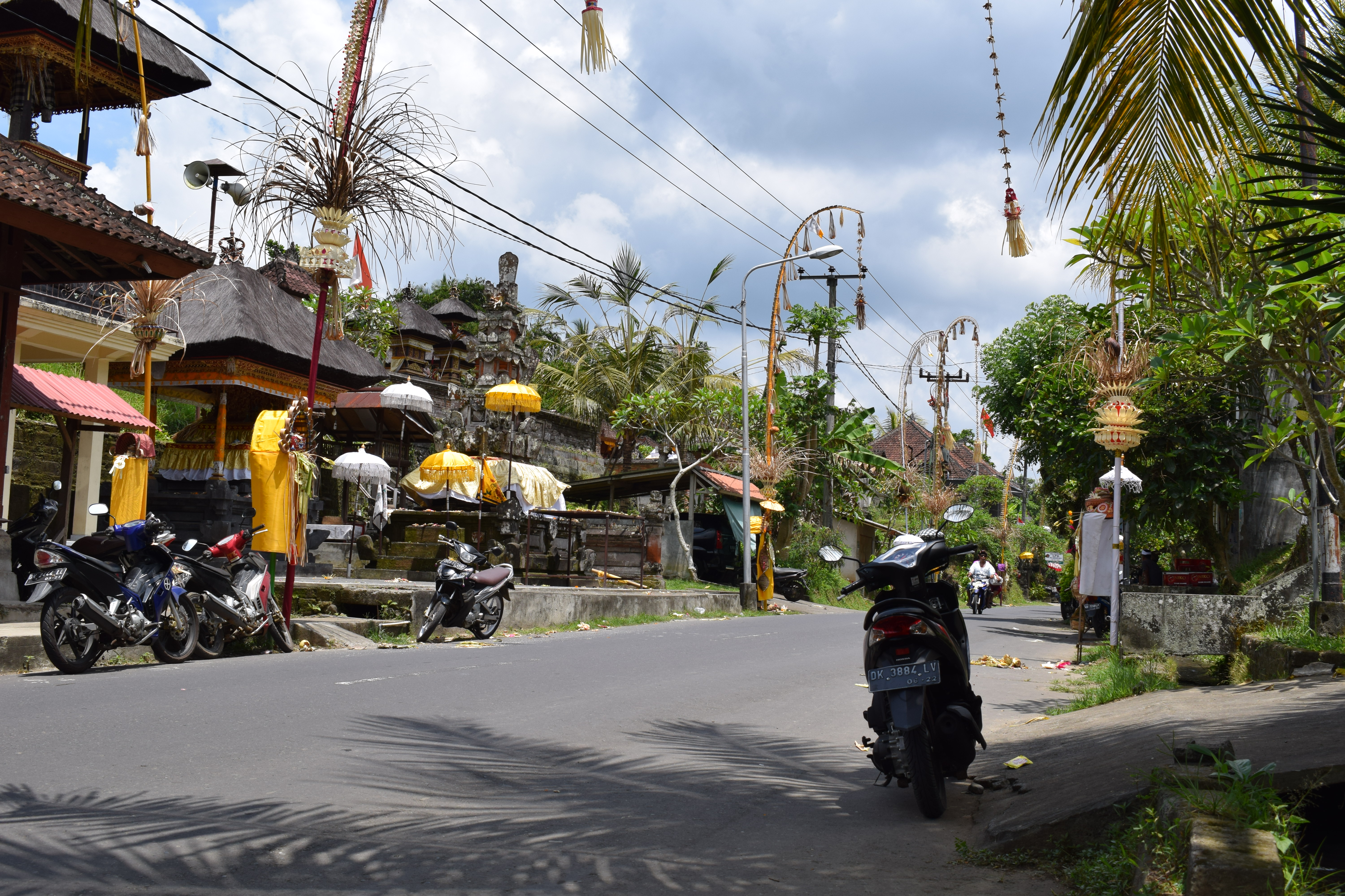 Motorcycles on the street in Ubud Bali