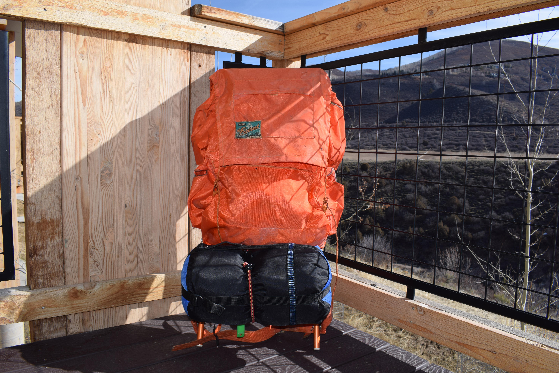 Orange Backpack with Sleeping Bag