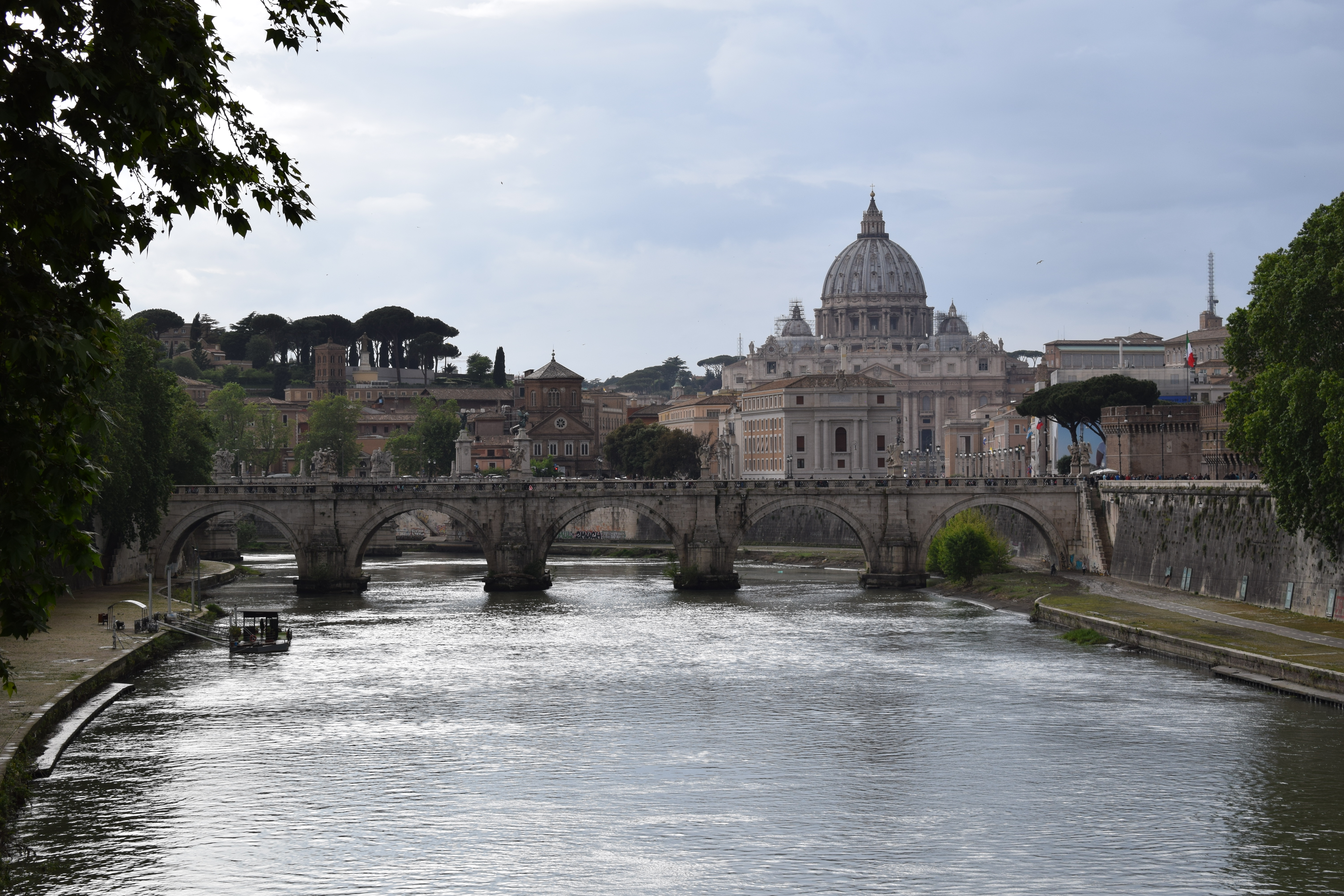 View of St. Peter's Basilica from Tiber River Rome Italy
