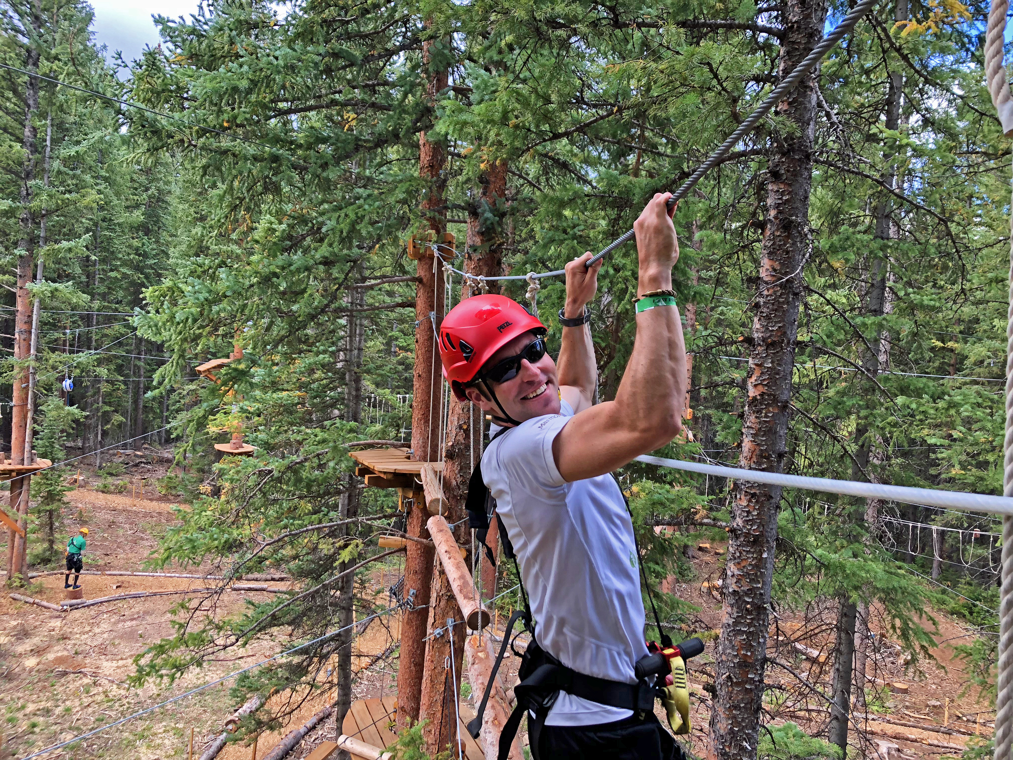 Man on Zip Line Course in Snowmass Colorado