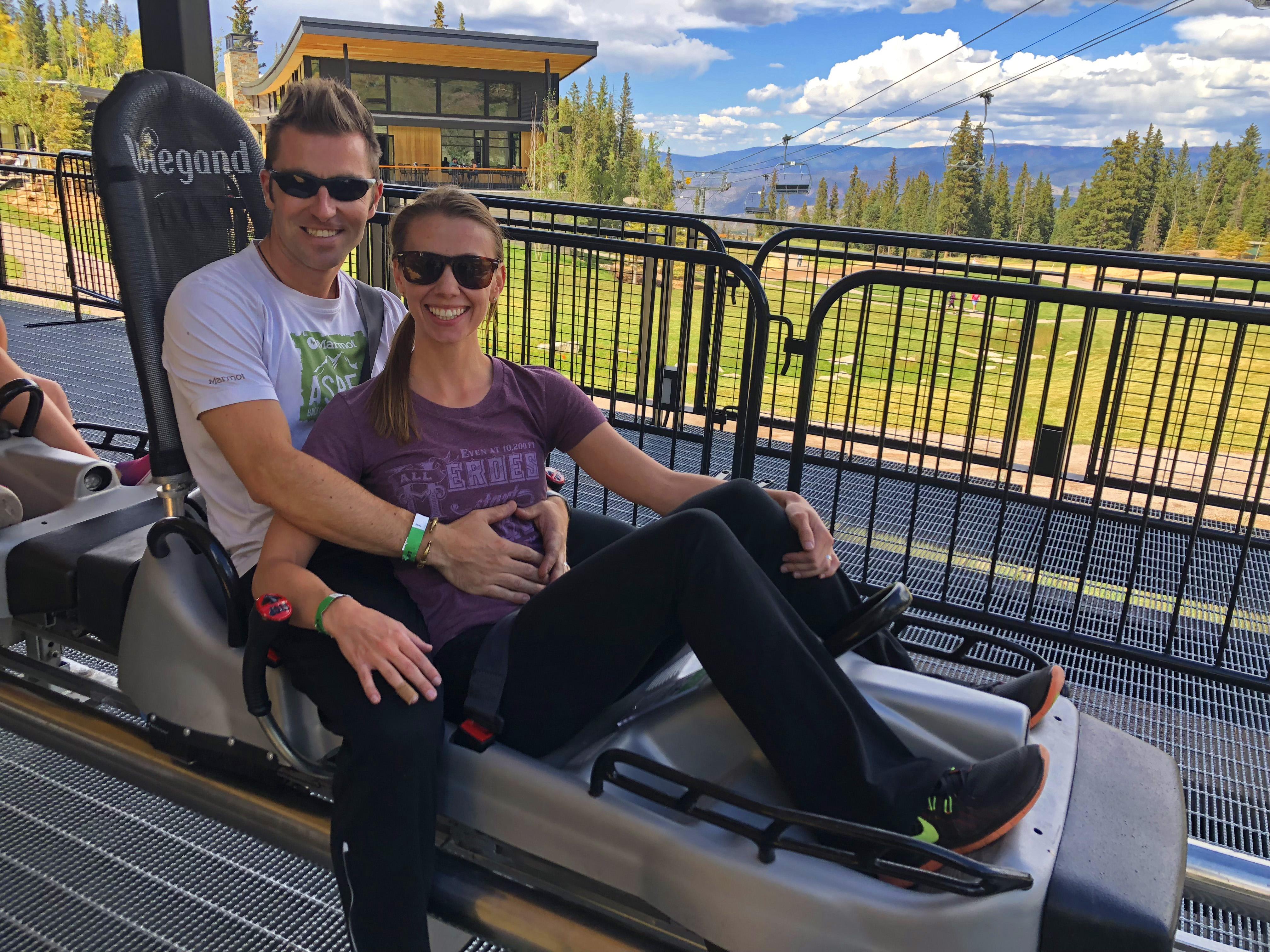 Couple on Alpine Roller Coaster in Snowmass Colorado