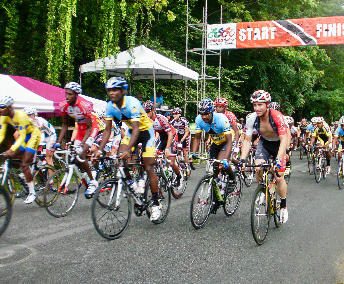 Start of Tobago Cycling Classic Road Race in Tobago