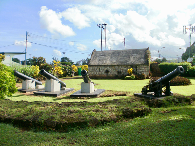 Canons and Stone House at Fort James Tobago