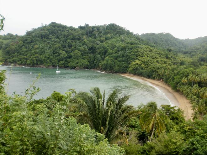 Overlook of Englishman's Bay Beach in Tobago