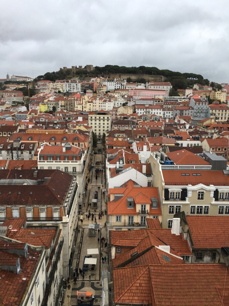 View of Sao Jorge Castle and Lisbon from Santa Justa Lift