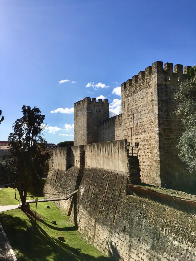 Inside Sao Jorge Castle Walls in Lisbon Portugal