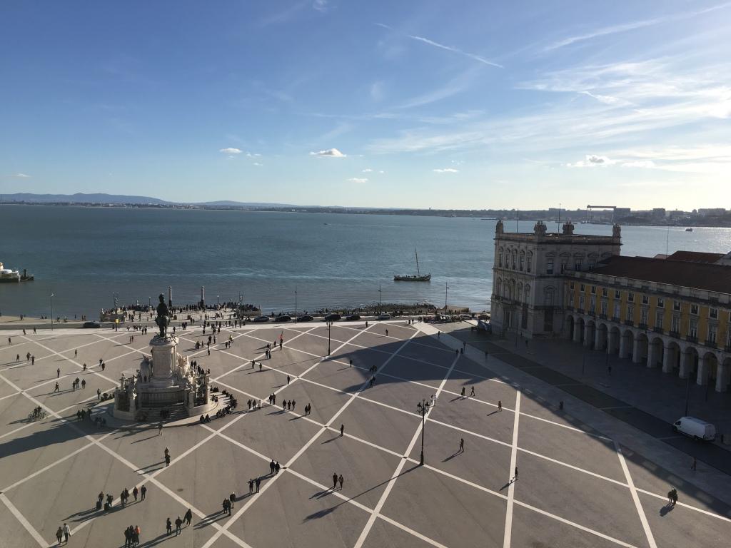 View of Praca do Comercio from Rua Augusta Arch in Lisbon Portugal