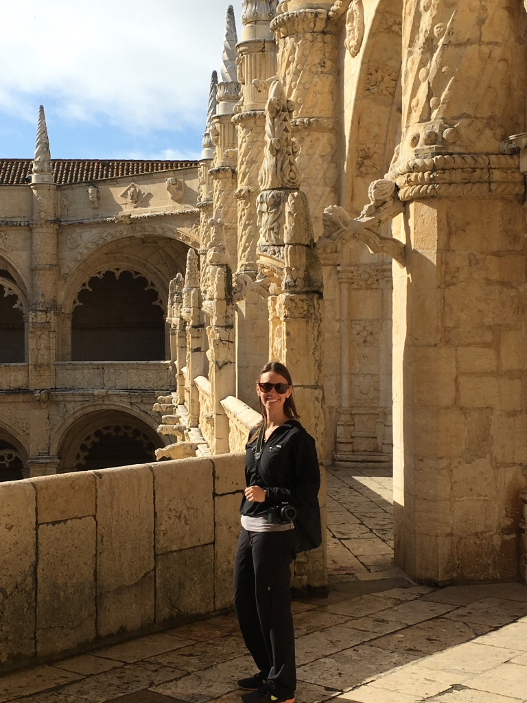 Woman Inside the Cloisters at Jeronimos Monastery in Belem Portugal