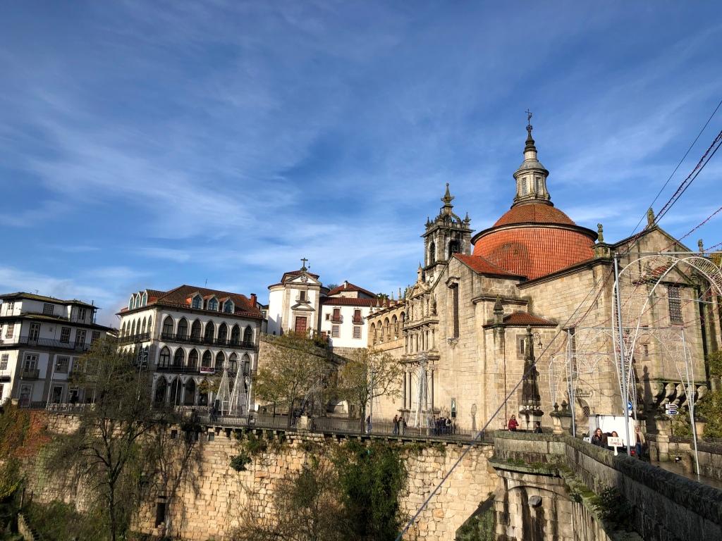 Stone Church Next to Bridge in Amarante Portugal