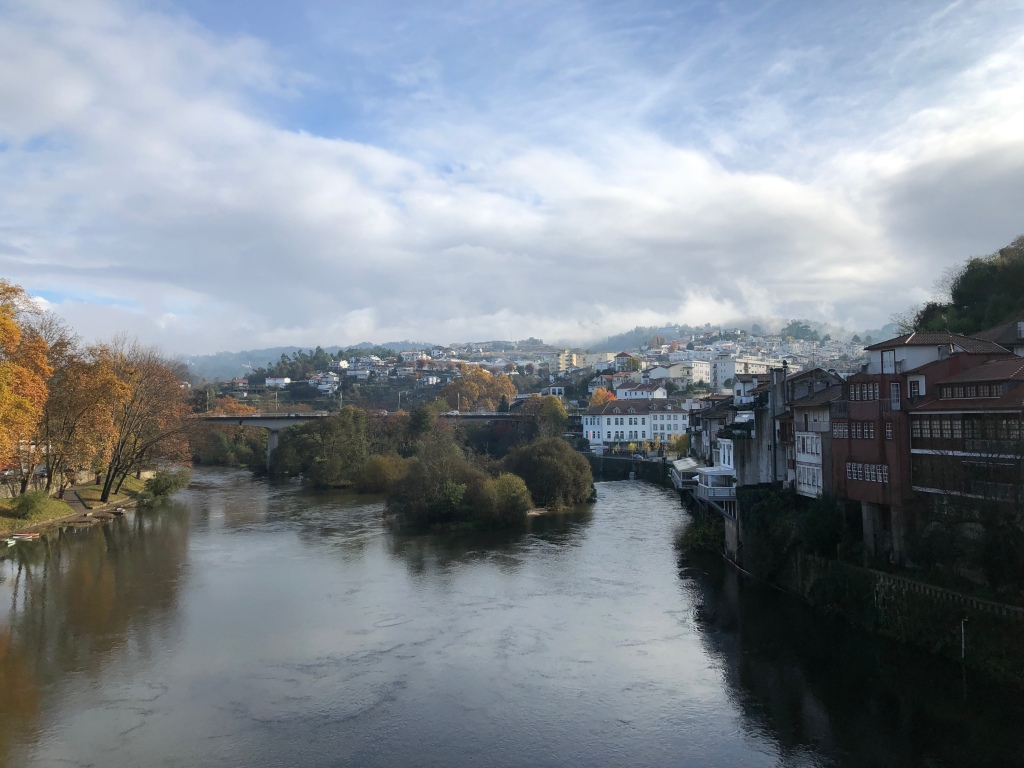 River Running through small Portuguese Town of Amarante, Portugal