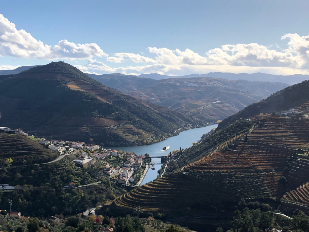 Overlook of Vineyards and Douro River in Douro Valley Portugal