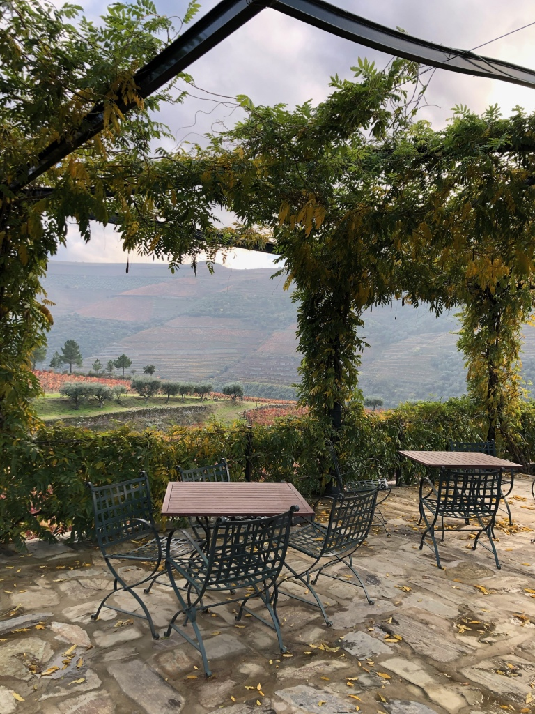 Outdoor Wine Tasting Tables at Croft Vineyard in Douro Valley Portugal