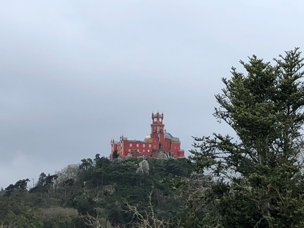 Pena Palace Viewed from Moorish Castle in Sintra Portugal