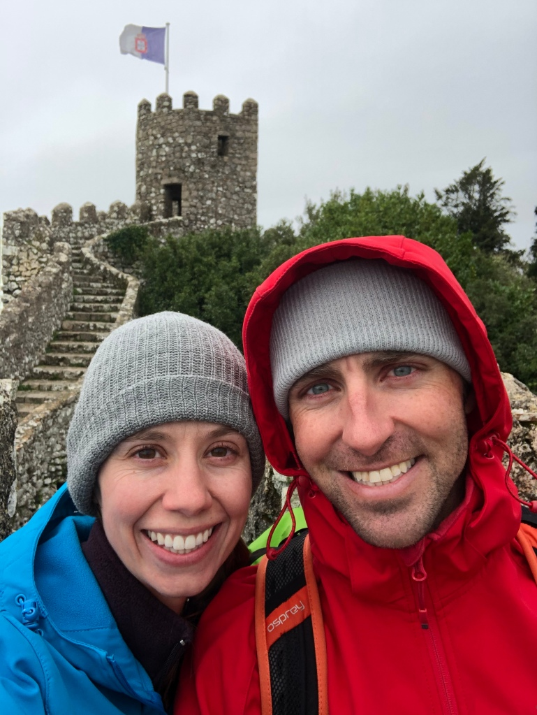 Couple Inside Moorish Castle in Sintra Portugal